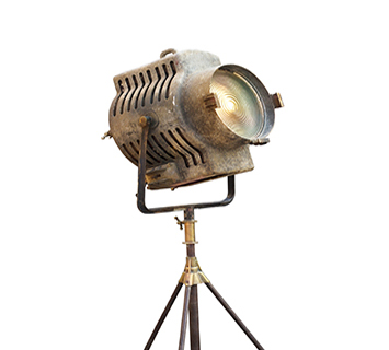 Vintage Movie Light on a stand, isolated background and blank te